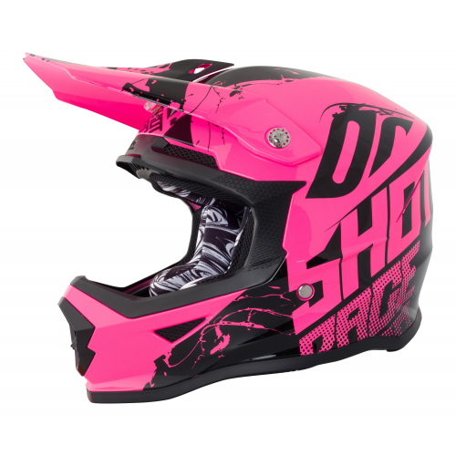 Shot Furious Kids MX Helmet - Venom Neon Pink Gloss