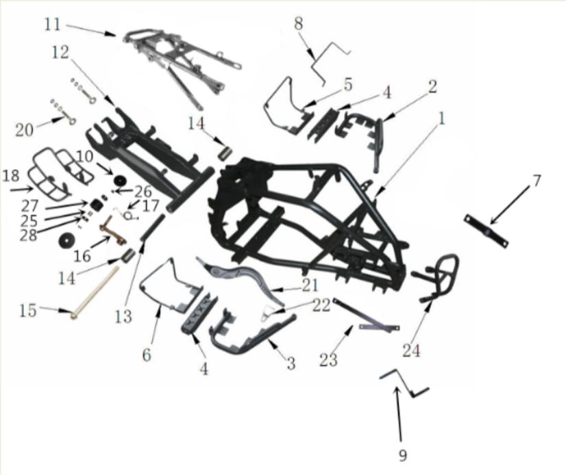 125cc Frame Parts
