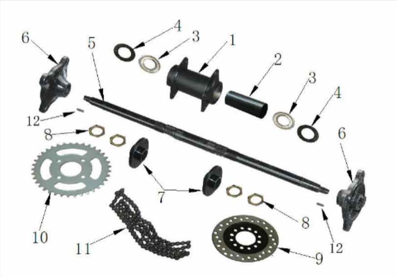 125cc Rear Axle Parts