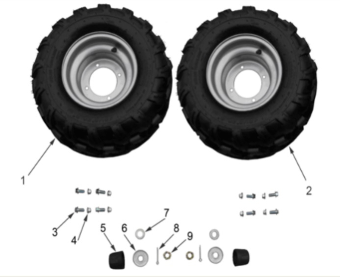 125cc Wheels, Rims and Tires
