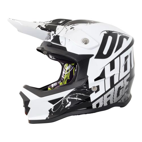 Shot Furious Kids MX Helmet - Venom Black / White Gloss