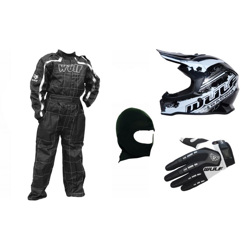 Black & White Wulfsport Clothing & Helmet Discount Bundle Deal