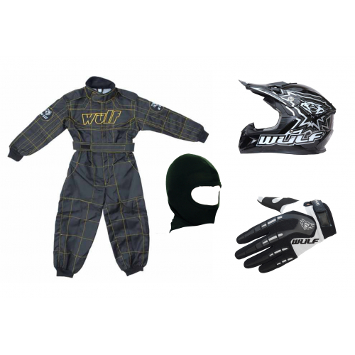 Black & White Wulfsport Clothing & Helmet Discount Bundle Deal