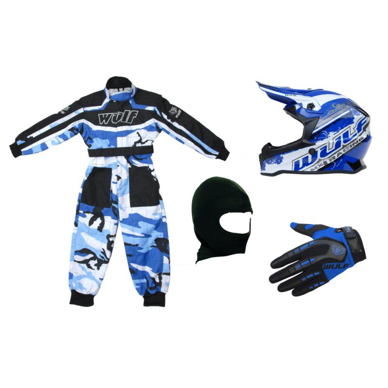 Blue Camo Wulfsport Clothing & Helmet Discount Bundle Deal
