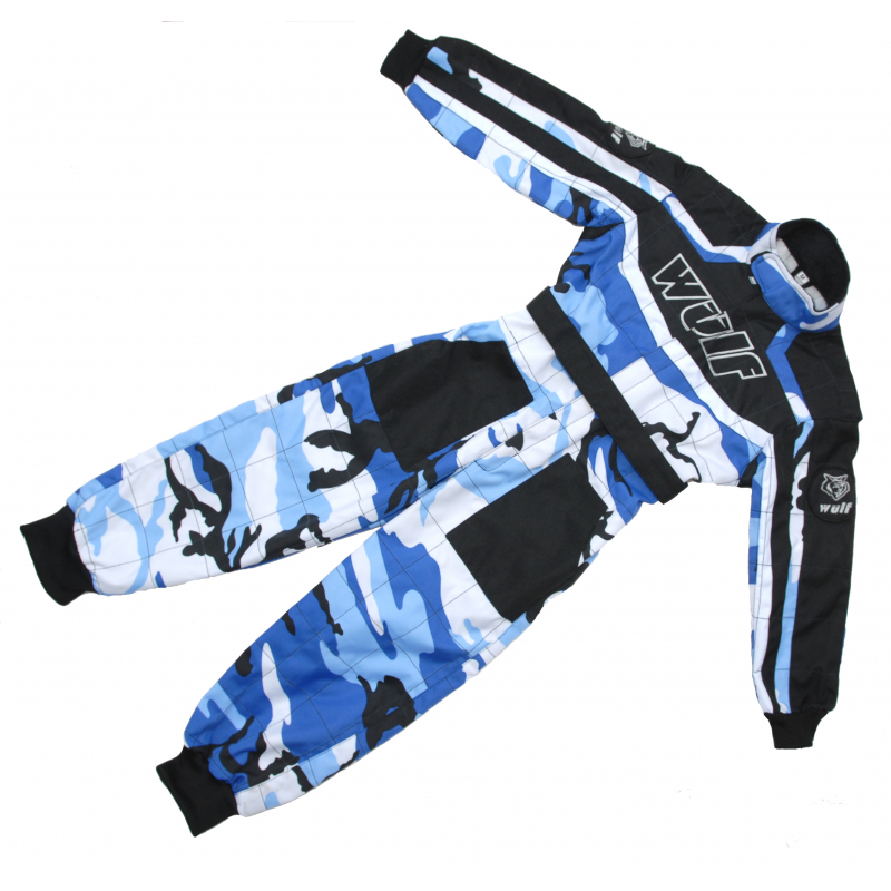 Wulfsport Cub Racing Camo Suit - Blue