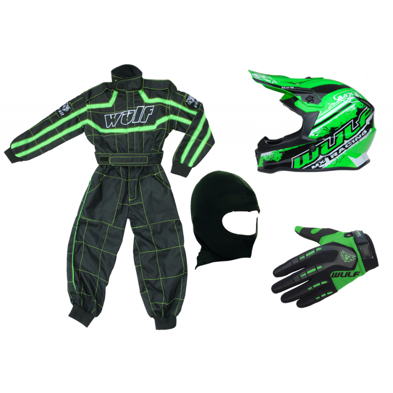 Green Wulfsport Clothing & Helmet Discount Bundle Deal