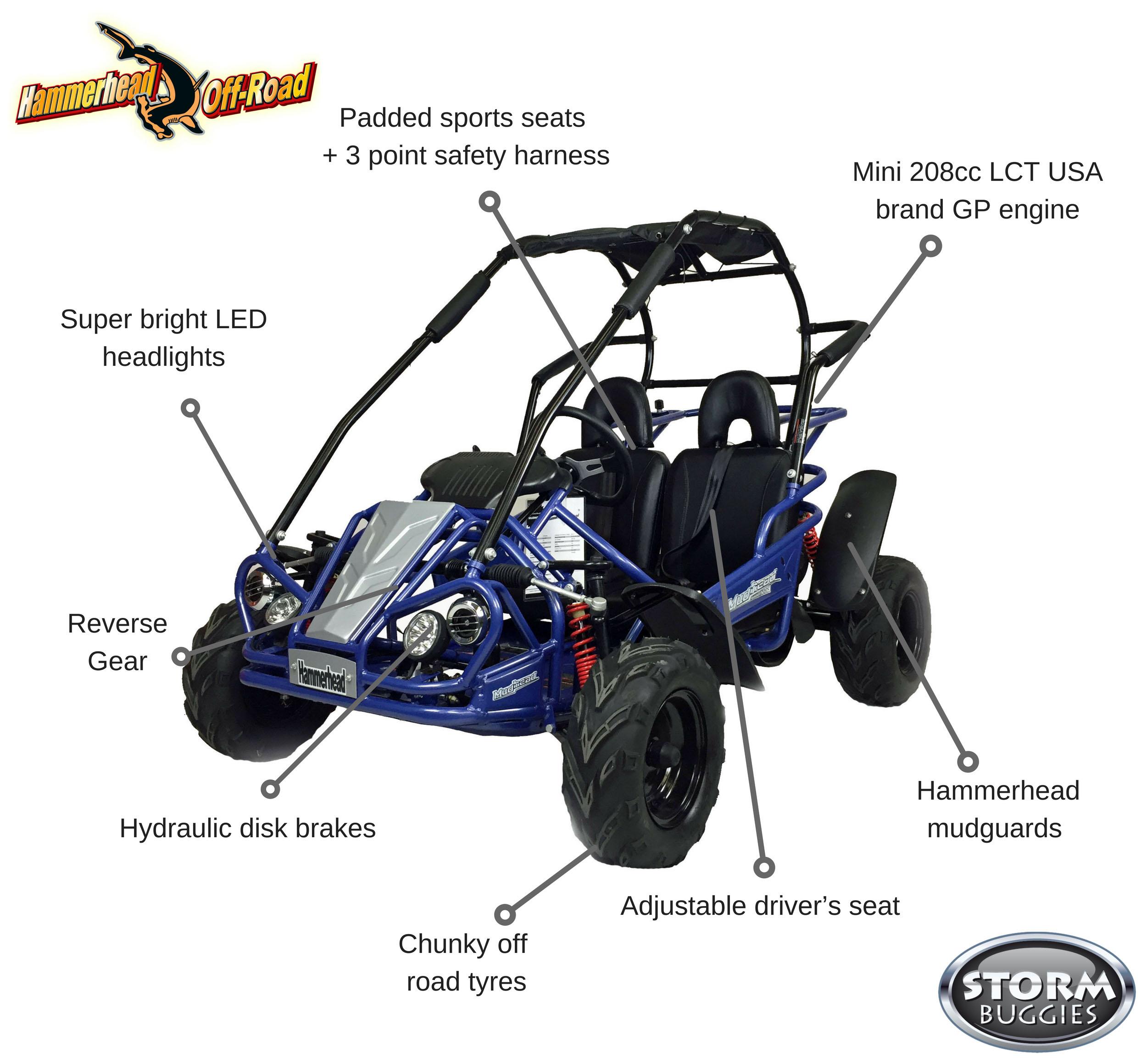 Hammerhead Mudhead™ Reverse 208R Kids Off Road Buggy -Blue