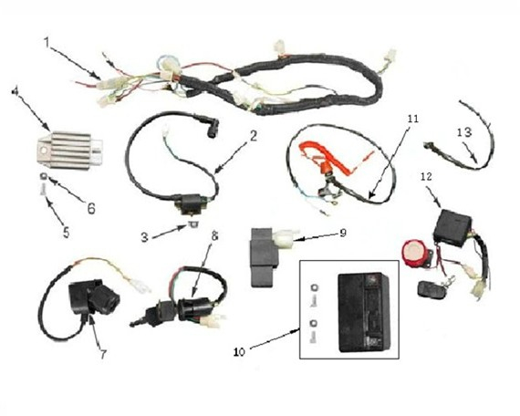orion 110cc wiring harness loom storm buggies