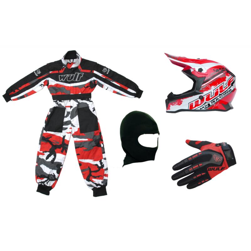 Red Camo Wulfsport Clothing & Helmet Discount Bundle Deal