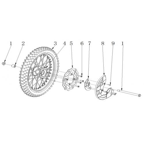 RXF Freeride 190cc Front Wheel & Brake Assembly