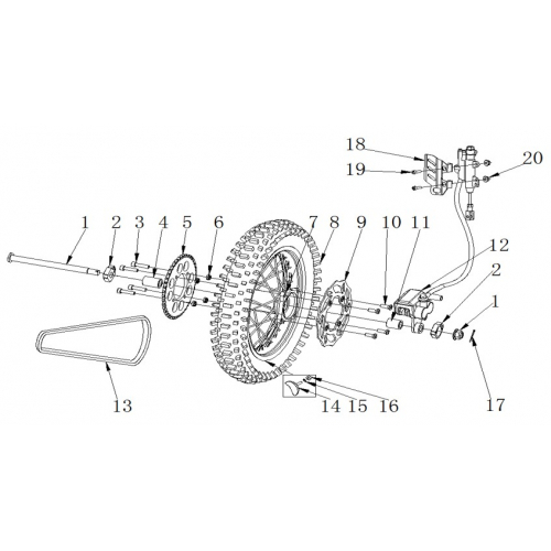 RXF Freeride 190cc Rear Wheel & Brake Assembly