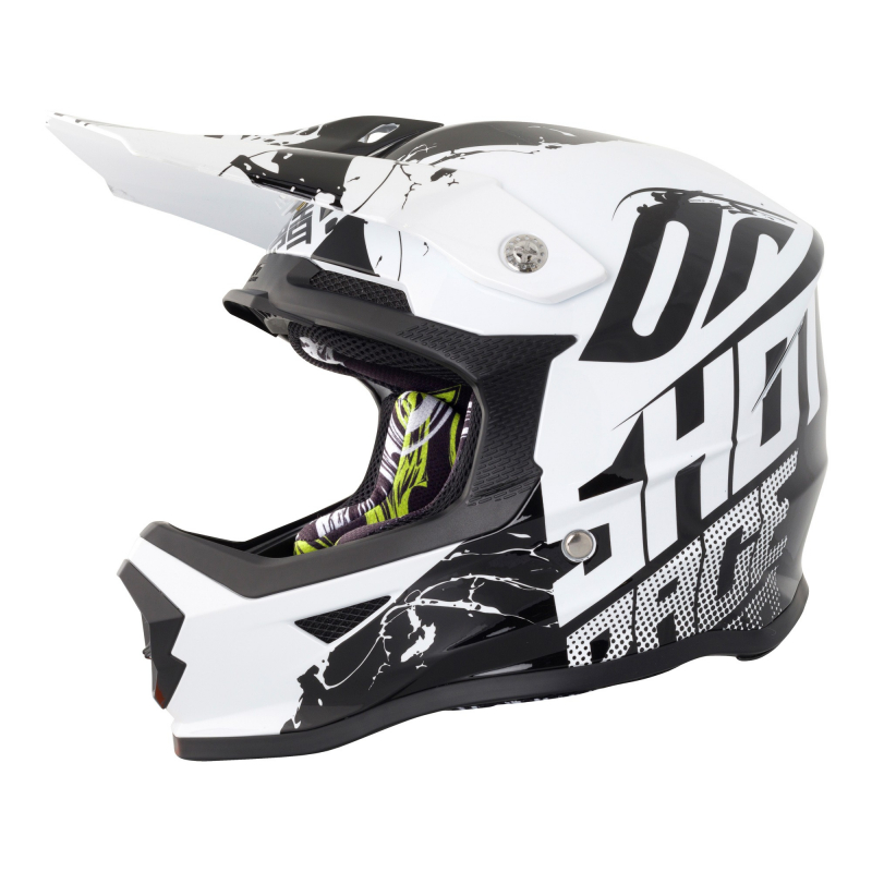 Shot Furious Kids MX Helmet - Venom Black / White Gloss