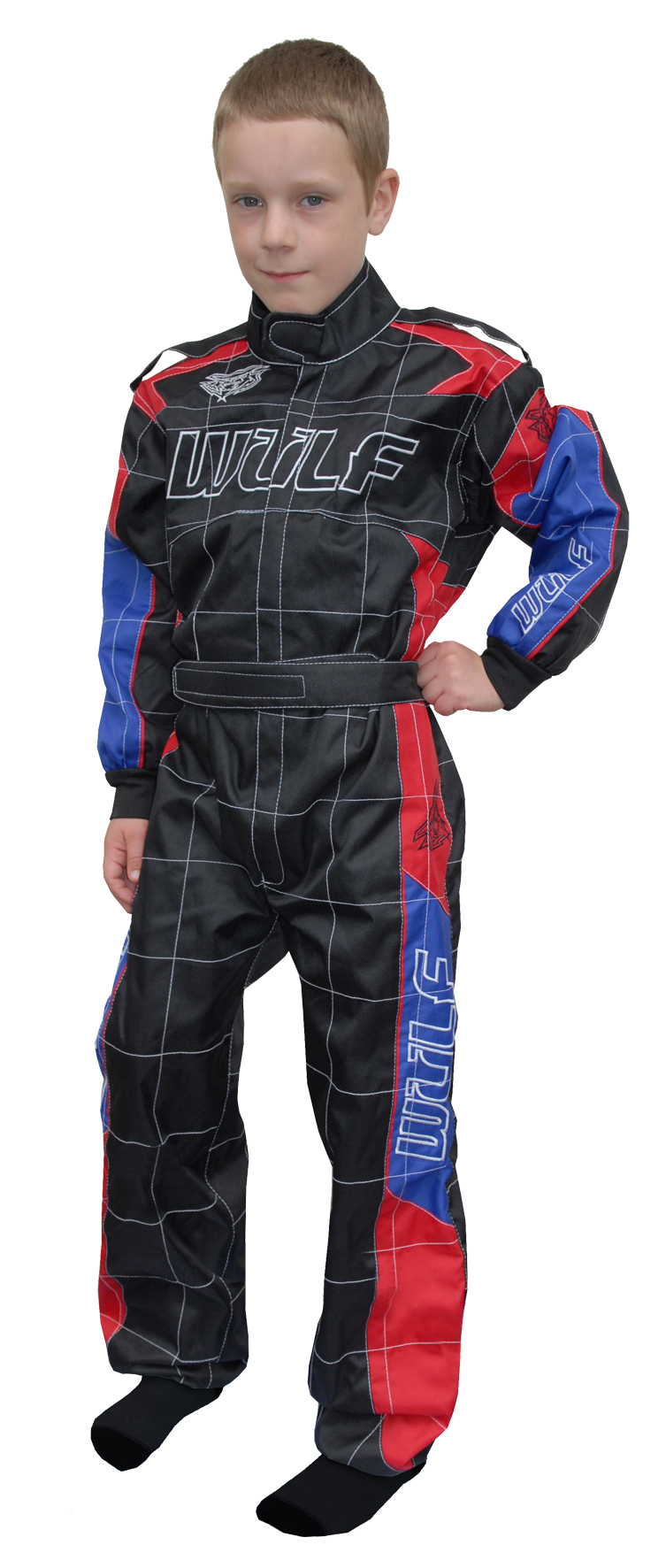 Wulfsport Cub Grand Prix Racing Suit - Black/Red/Blue