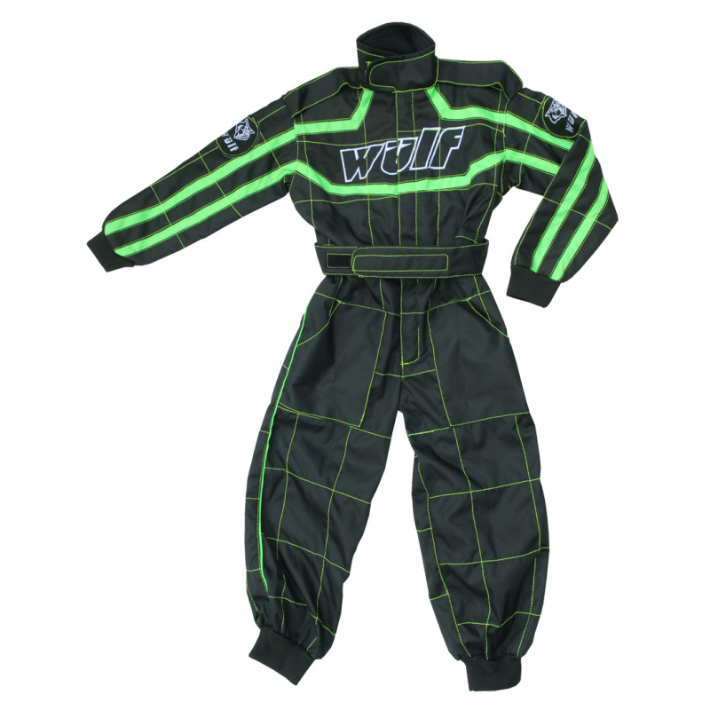 Wulfsport Cub Racing Suit - Black / Green