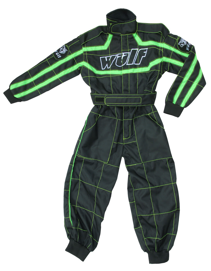 Wulfsport Cub Racing Suit - Black / Green